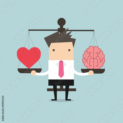 Businessman with Heart and brain on scales vector Canvas Print