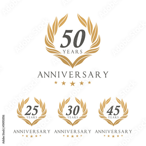 Fotografie, Tablou Vector set of anniversary golden signs logo