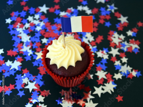 Happy Bastille Day cupcake with red, white and blue french flag Poster