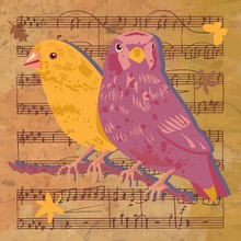 Vintage Birds, Butterfly And Leaves On Sheet Music; Vector Illus