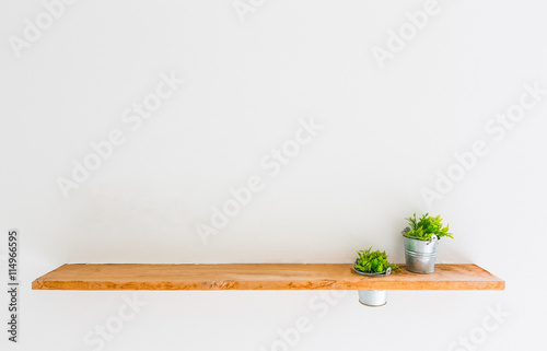 Fotografía  Wooden shelf on white wall with green plant.
