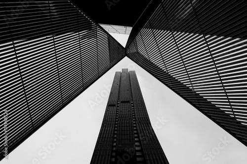 Fotografie, Obraz  Melbourne CBD architecture - metal scultpture and skyscraper in black and white