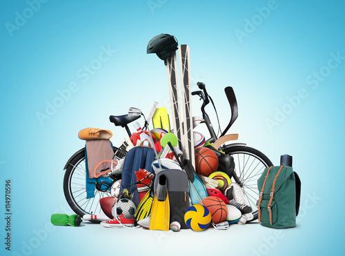 Fotografia  Sports equipment has fallen down in a heap