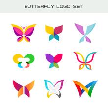 Butterfly Colorful Logo Set. V...