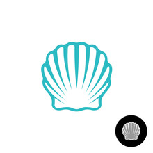 Seashell Logo. Scallop Seashell Elegant Symbol. Sea Shell Isolated.