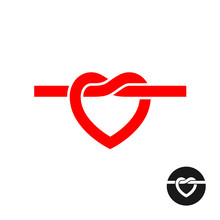Heart Knot Silhouette Logo. Simple Red Heart Rope Symbol.