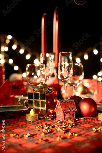 Gold And Red Christmas Table Decoration With Dim Light Candle Buy