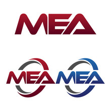 Modern 3 Letters Initial Logo Vector Swoosh Red Blue Mea