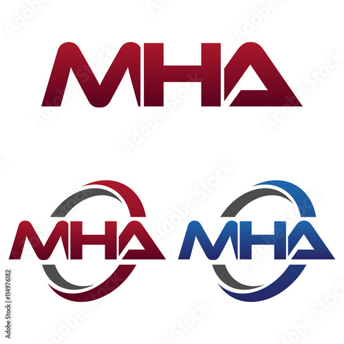 Modern 3 Letters Initial logo Vector Swoosh Red Blue mha ...