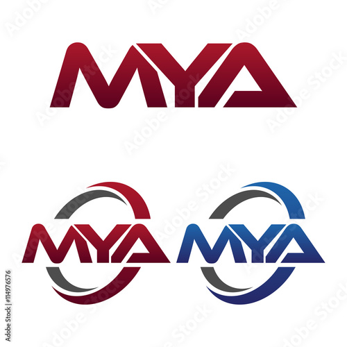 Modern 3 Letters Initial logo Vector Swoosh Red Blue mya Poster