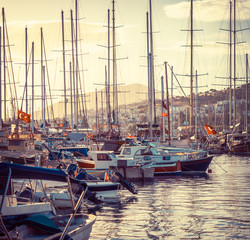 Fototapeta Marynistyczny Marine landscape with yachts in Bodrum harbor at sunset.