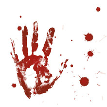 Blood Print Of A Hand And Bloo...