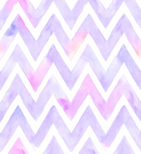 Watercolor Chevron Of Purple Color With White Background. Seamless Pattern For Fabric