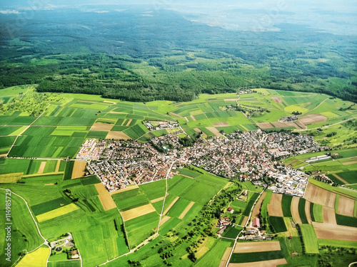 Foto op Canvas Luchtfoto Village aerial view