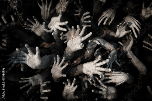 Fotografiet hand ghost ,zombie Bloody hands background,maniac,Blood zombie h