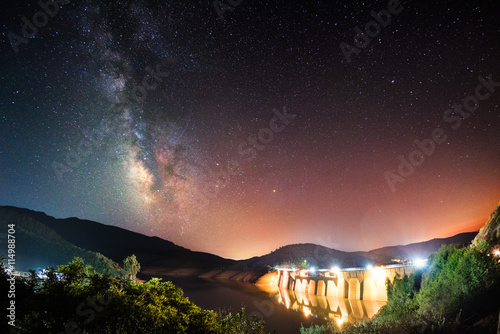 Foto op Aluminium Dam Dam at night under the milky way