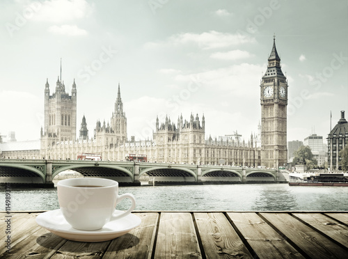 Foto op Canvas Londen Big Ben and cup of coffee, London, UK