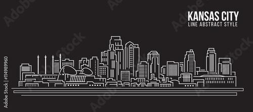 Pejzażu miejskiego budynku Kreskowej sztuki Wektorowy Ilustracyjny projekt - Kansas city