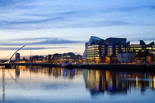 Dublin city and river during sunset Poster