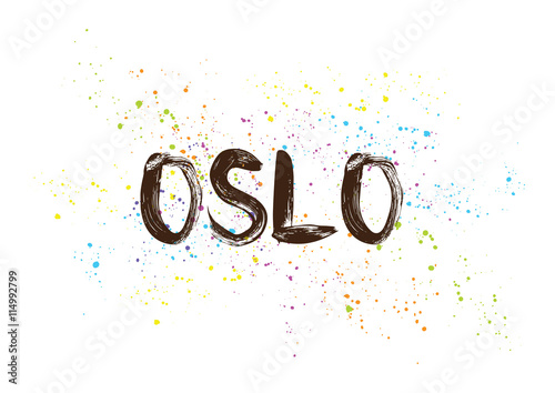 Photo  Oslo, Norway. Capital city typography lettering design.
