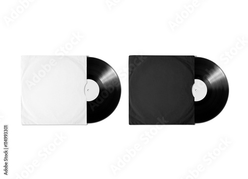 Blank white and black vinyl album cover sleeve mockup, isolated ...