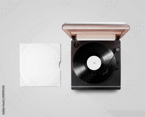 gramophone vinyl player and record cover sleeve mockup top view