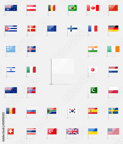 Vector World Flags Collection 37 Detailed High Quality Glossy Icons