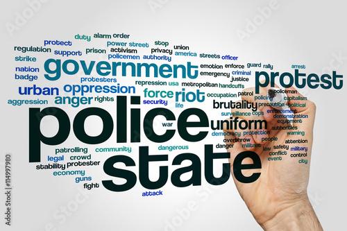 Fényképezés  Police state word cloud