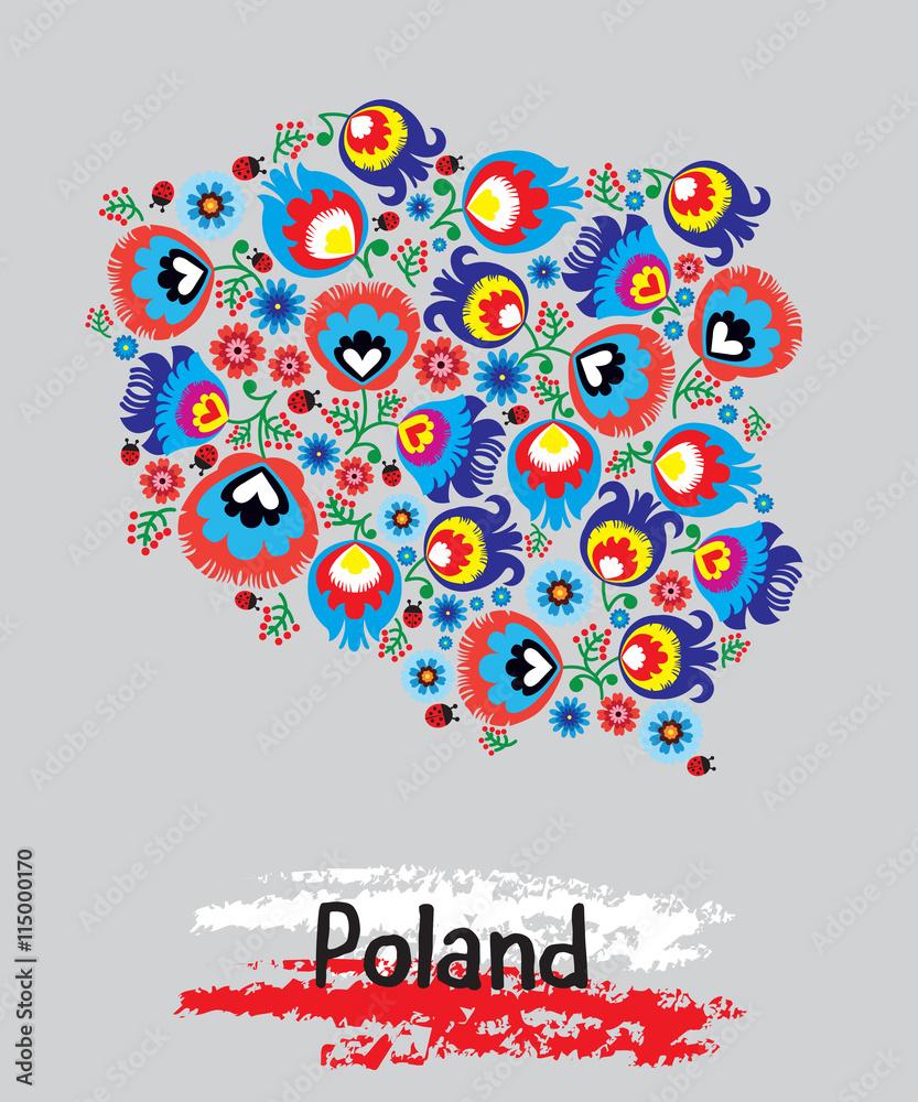 Polska, tradycyjny wzór łowicki, folklor