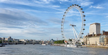 London Eye An Der Themse, Engl...