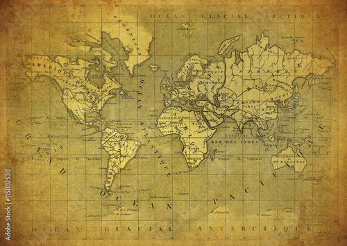 vintage map of the world published in 1847 Poster