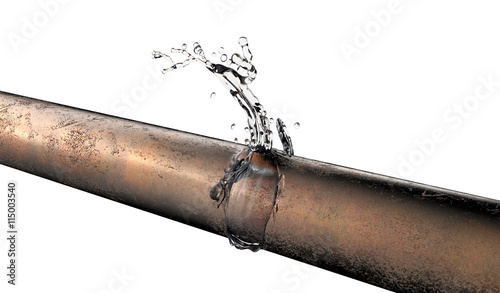 Fotografia  bursted copper pipe with water leaking out