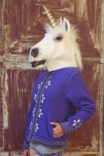 Girl With A Unicorn Mask