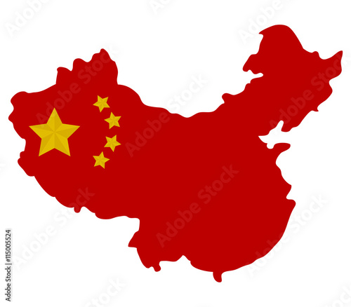 Map of China with flag