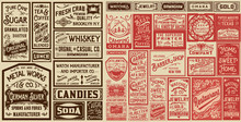 Mega Pack Old Advertisement Designs And Labels - Vector Illustra