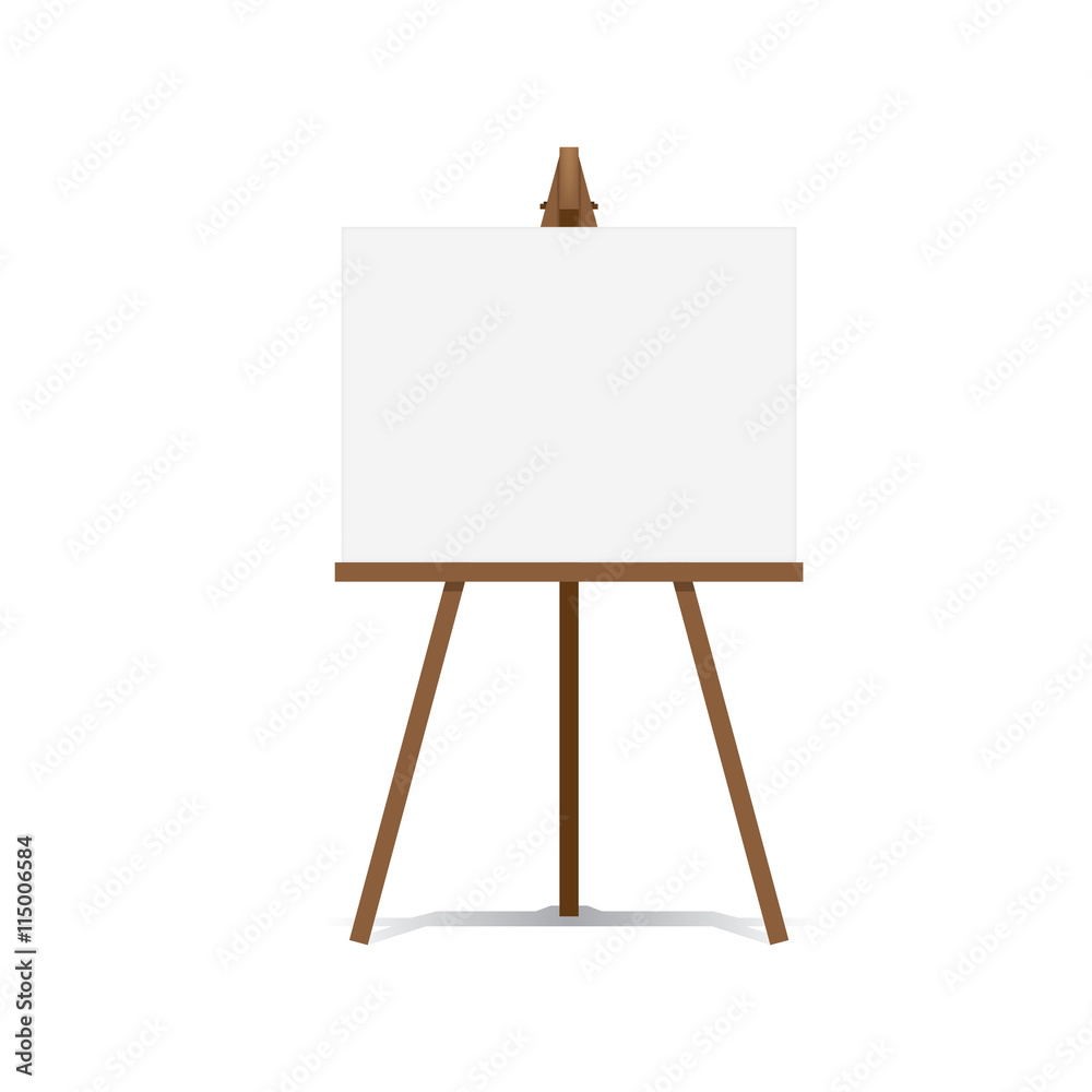Photo  Art Easel and blank canvas space ready for your advertising and