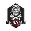 mountain renegades vintage print with skull, pistons mountains