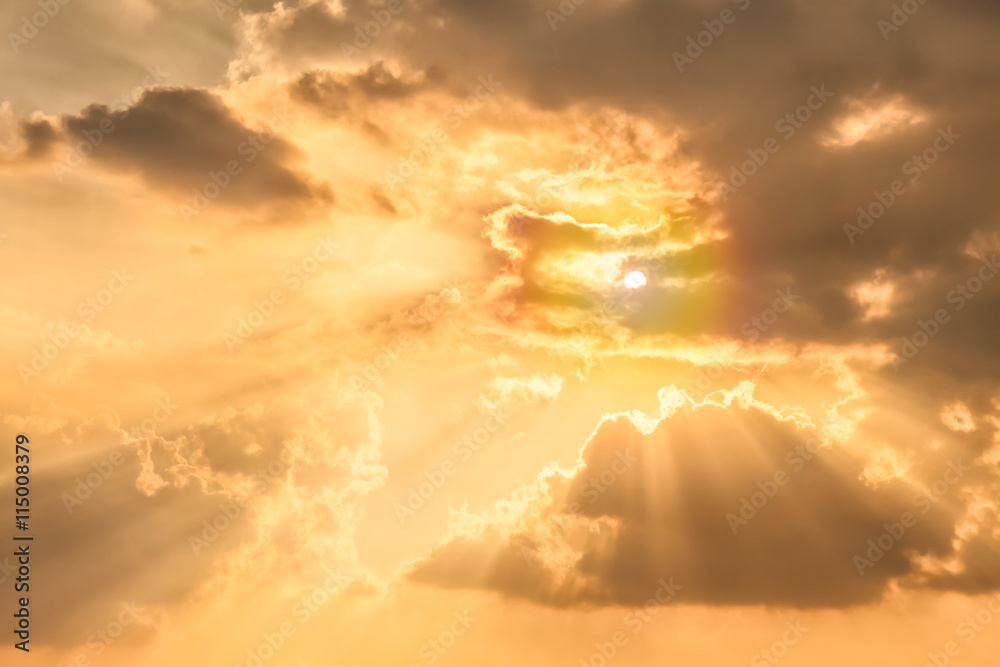 Fototapety, obrazy: Sun rays ,sky and clouds.