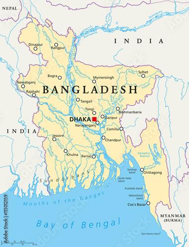 Bangladesh political map with capital Dhaka, national borders ...