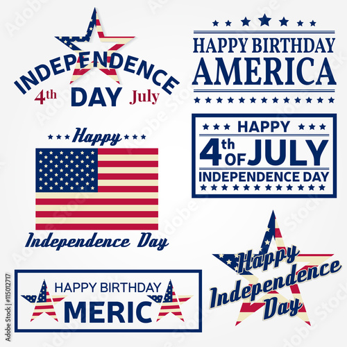 Set Of Independence Day Greeting Cards Flyers Posters Patriotic Banner For Website Template Usable 4th July Card