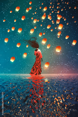 Foto op Aluminium Grandfailure woman in dress standing on water against lanterns floating in a night sky,illustration painting