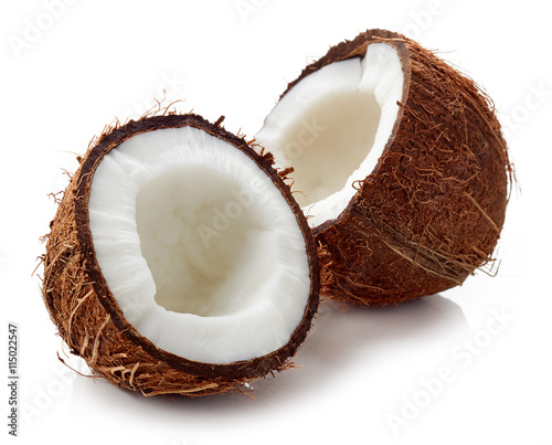 Coconut close up isolated on white