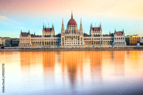 Budapest parliament at sunset, Hungary