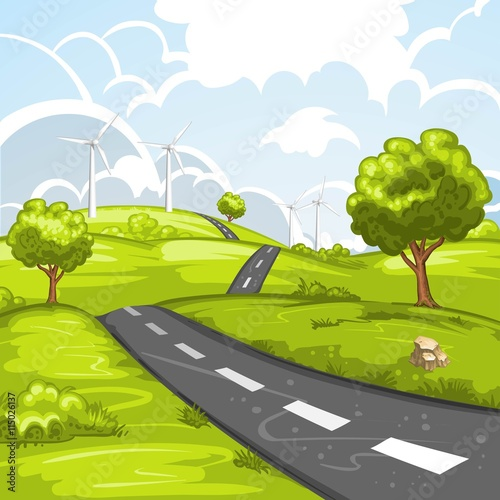 Foto op Canvas Lime groen Spring landscape with road