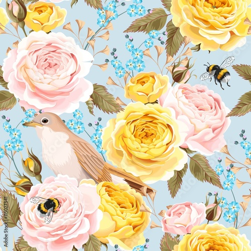 Cotton fabric English roses and birds seamless