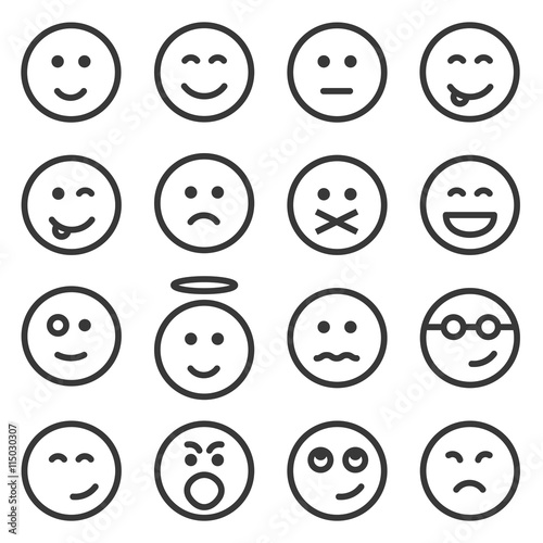 Set of outline emoticons, emoji isolated on white background, vector illustratio Poster