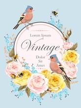 Vintage Card With Nightingale