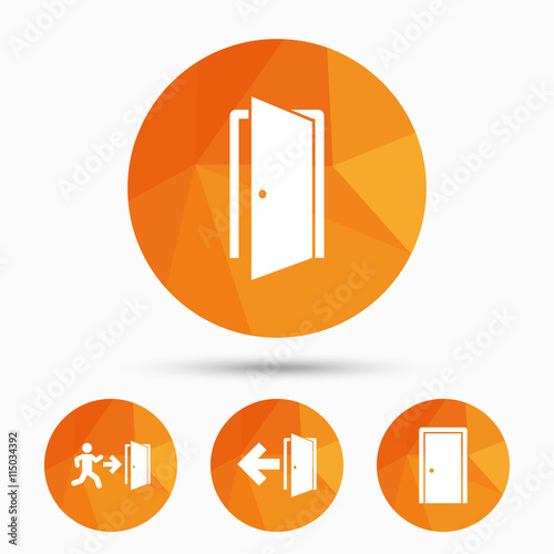 Doors signs. Emergency exit with arrow symbol. Wall mural