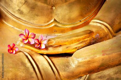 Tuinposter Boeddha flower in hand image of buddha