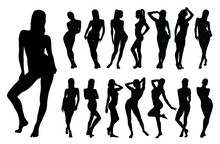 Silhouette Of Beautiful Woman In Different Standing Positions.